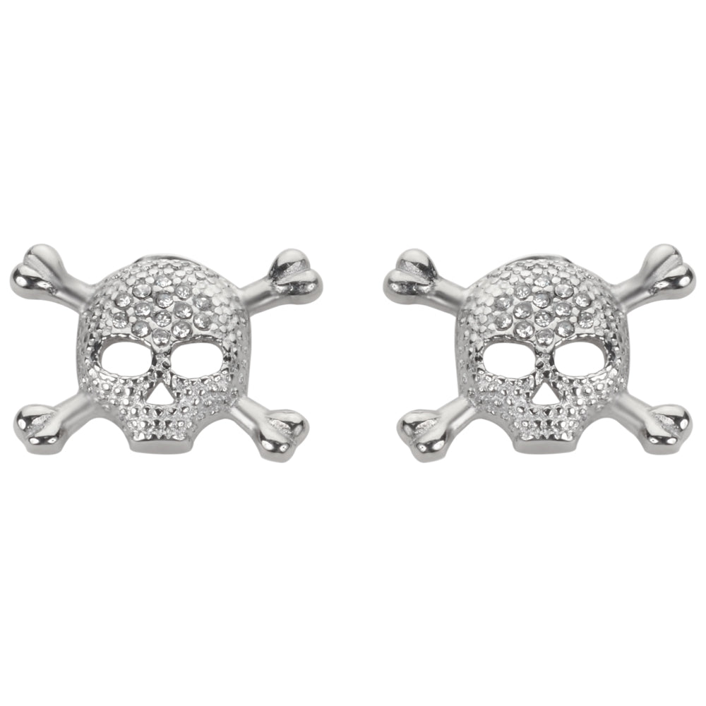 SK1521  Bling Skull Earrings Post & Nut Silver Tone Imitation Diamonds Stainless Steel Motorcycle Biker Jewelry