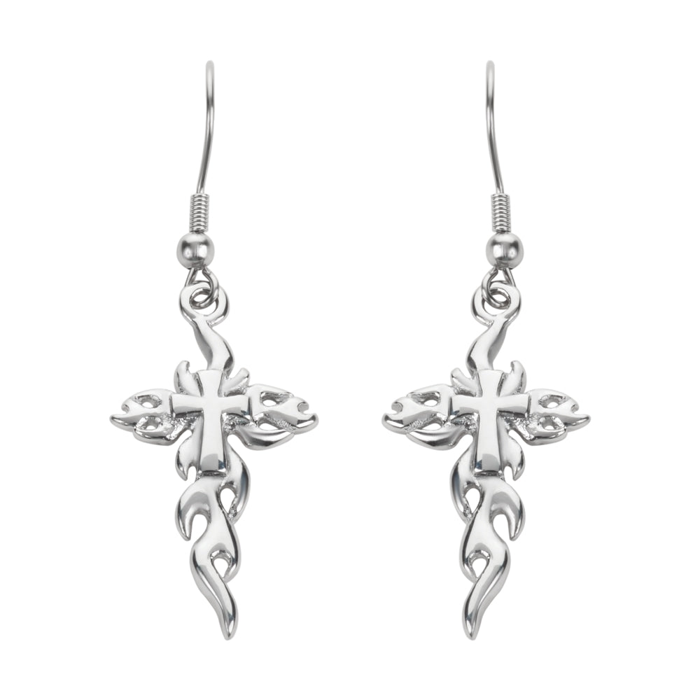SK1524  Flaming Cross French Wire Earrings Silver Tone Stainless Steel Motorcycle Biker Jewelry