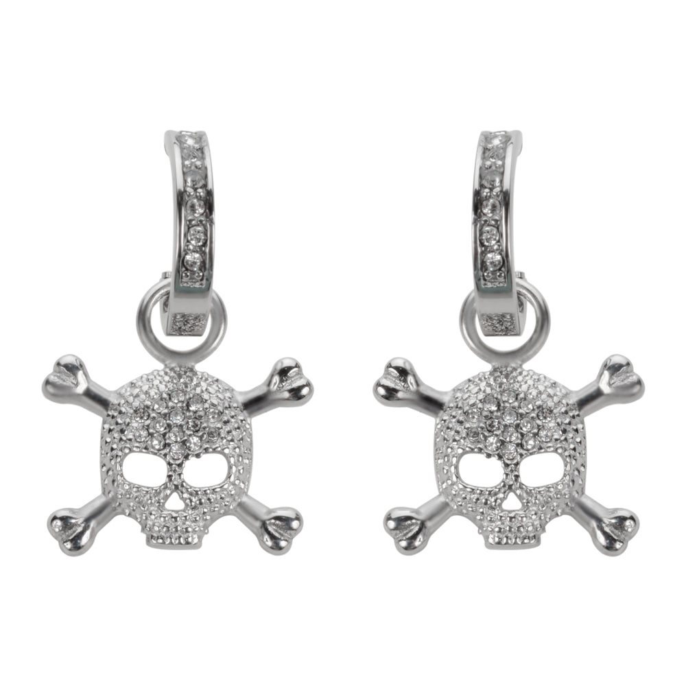 SK1525  Bling Skull Earrings Silver Tone Imitation Diamonds Stainless Steel Motorcycle Biker Jewelry