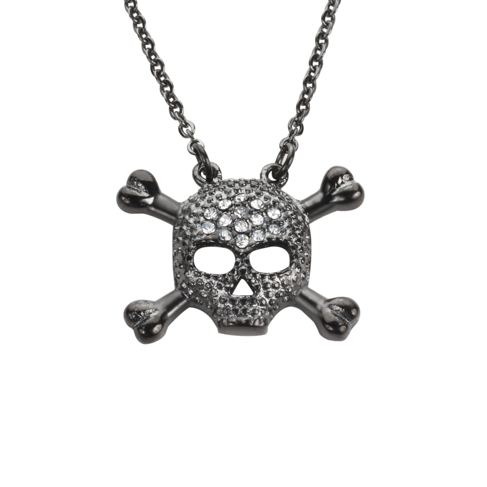 "SK1527 Ladies Small Black Skull Bones Crystal Bling Necklace 19""  1/2"" Tall Stainless Steel Motorcycle Jewelry"