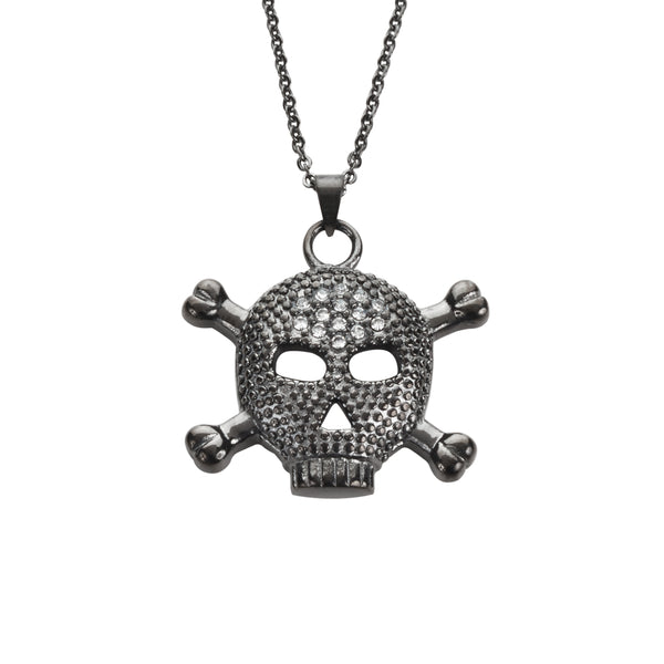 "SK1528 Ladies Big Black Skull Bones Crystal Bling Necklace 19"" 1"" Tall Stainless Steel Motorcycle Jewelry"