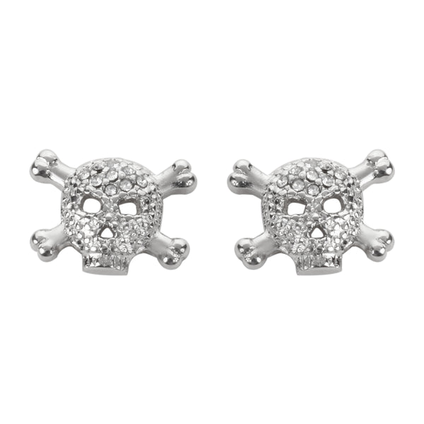 SK1529  Bling Stone Skull Earrings Silver Tone Imitation Diamonds Post & Nut Stainless Steel Motorcycle Biker Jewelry