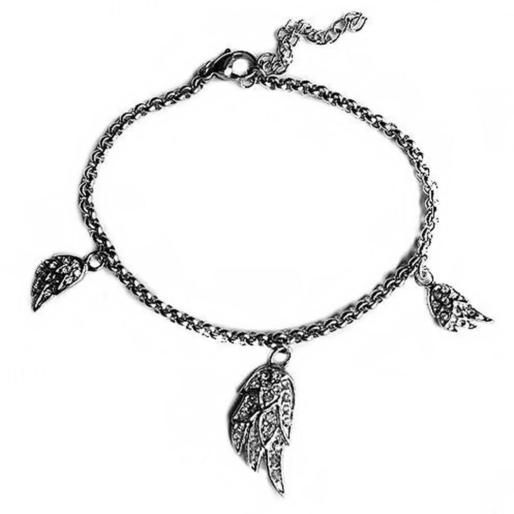 "SK1530 Ladies Crystal Angel Wing Bling Bracelet  8"" Adjustable Stainless Steel Motorcycle Jewelry"