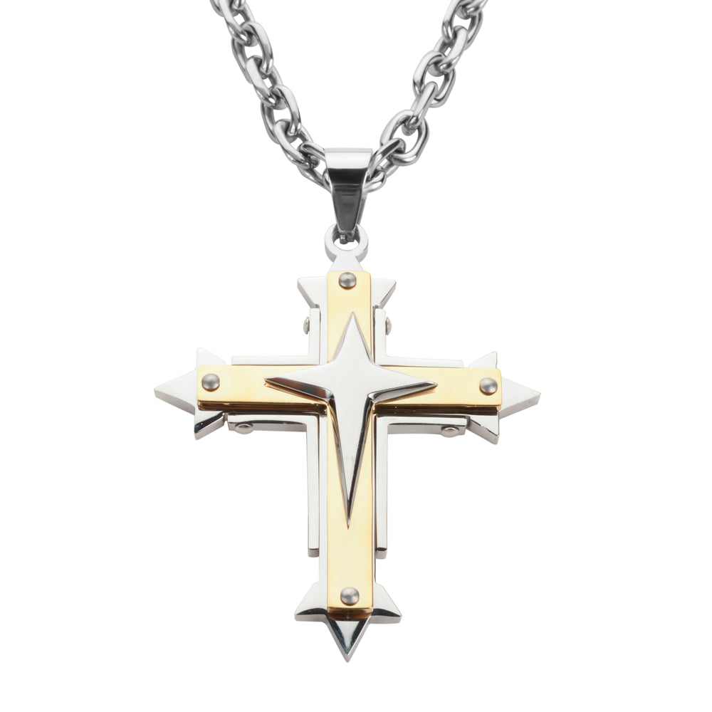 "SK1560 2.5"" Triple Layer Cross With 5 Millimeter Byzantine Necklace 26"" Stainless Steel Religious Jewelry"