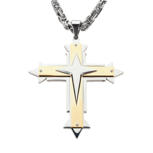 "SK1561 4"" Triple Layer Cross With 7 Millimeter Byzantine Necklace 26"" Stainless Steel Religious Jewelry"