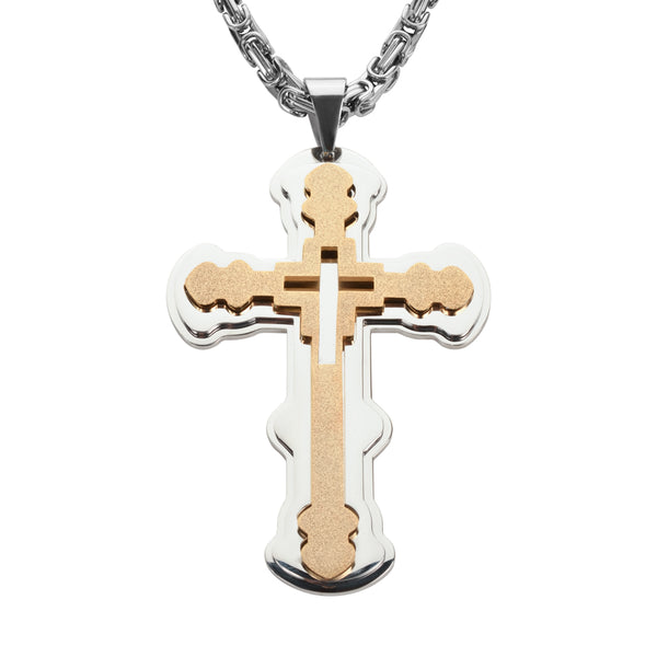 "SK1565 4"" Triple Layer Cross With 7 Millimeter Byzantine Necklace 26"" Stainless Steel Religious Jewelry"