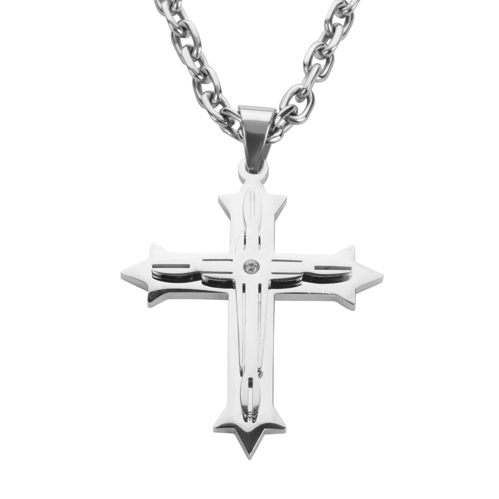 "SK1566 2.5"" Triple Layer Cross With 5 Millimeter Byzantine Necklace 26"" Stainless Steel Religious Jewelry"