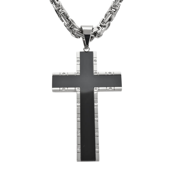 "SK1572 2.5"" Onyx Inlay Cross With 5 Millimeter Byzantine Necklace 26"" Stainless Steel Religious Jewelry"