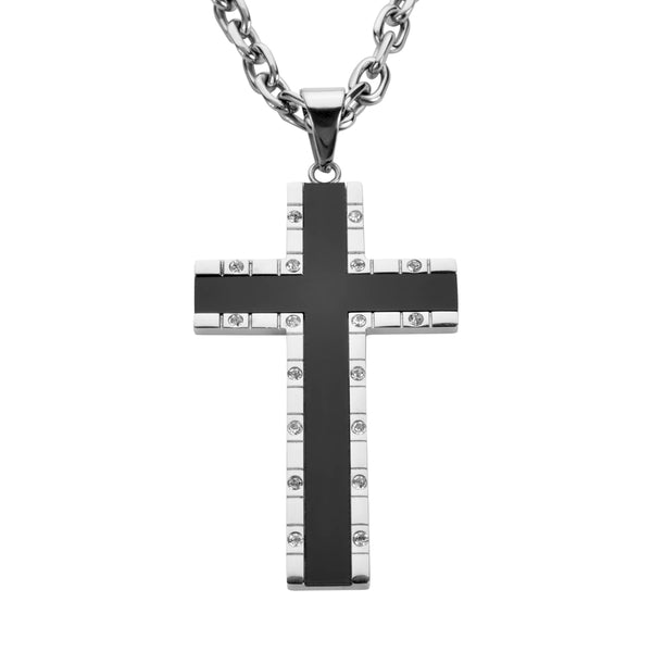 "SK1573 4"" Onyx Inlay Cross With 7 Millimeter Byzantine Necklace 26"" Stainless Steel Religious Jewelry"