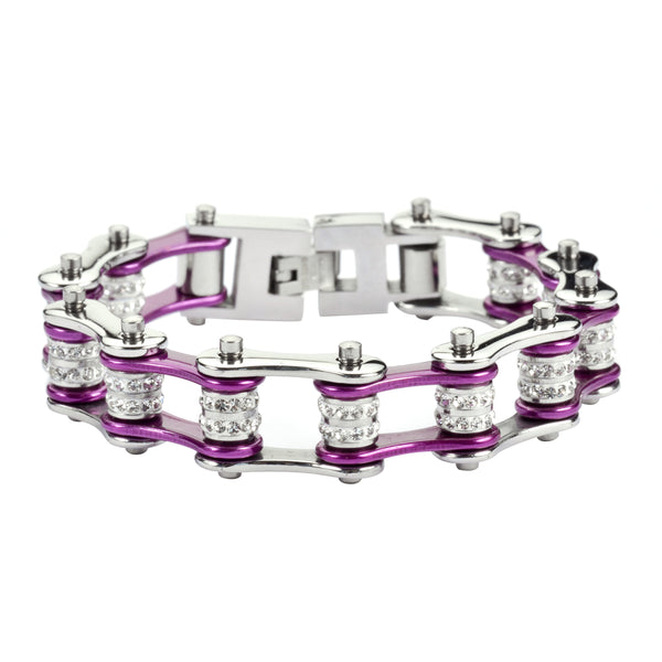 "SK1603 1/2"" Wide Silver Candy Purple Double Crystal Rollers Stainless Steel Motorcycle Bike Chain Bracelet"