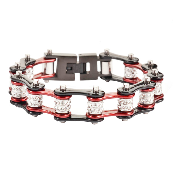 "SK1606 1/2"" Wide Black Candy Red Double Crystal Rollers stainless Steel Motorcycle Bike Chain Bracelet"