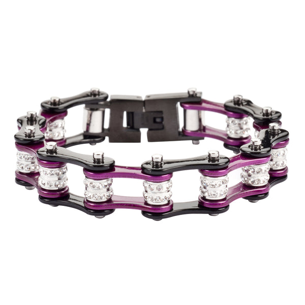 "SK1609 1/2"" Wide Black Candy Purple Double Crystal Rollers stainless Steel Motorcycle Bike Chain Bracelet"