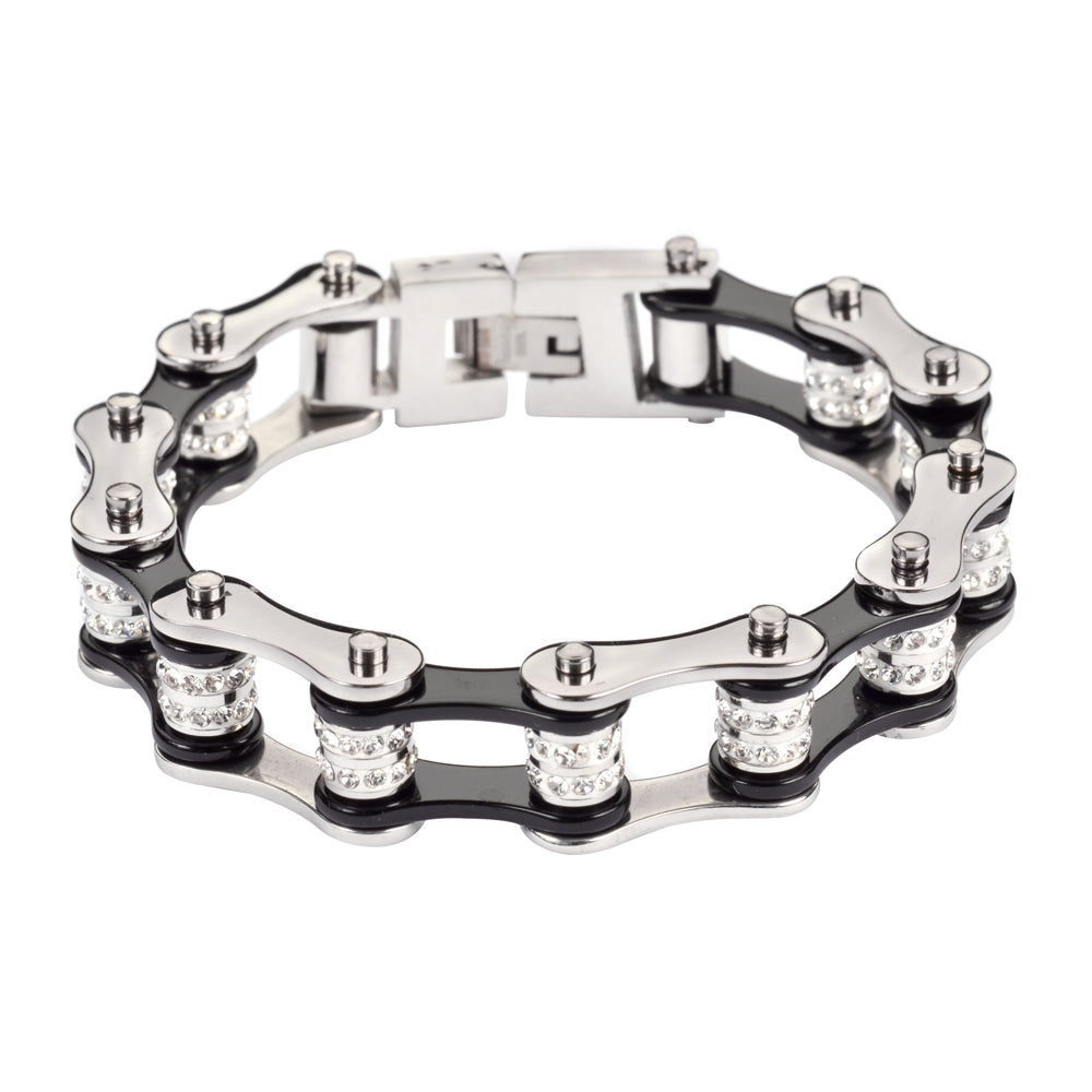 "SK1616 1/2"" Wide Silver Black Double Crystal Rollers Stainless Steel Motorcycle Bike Chain Bracelet"