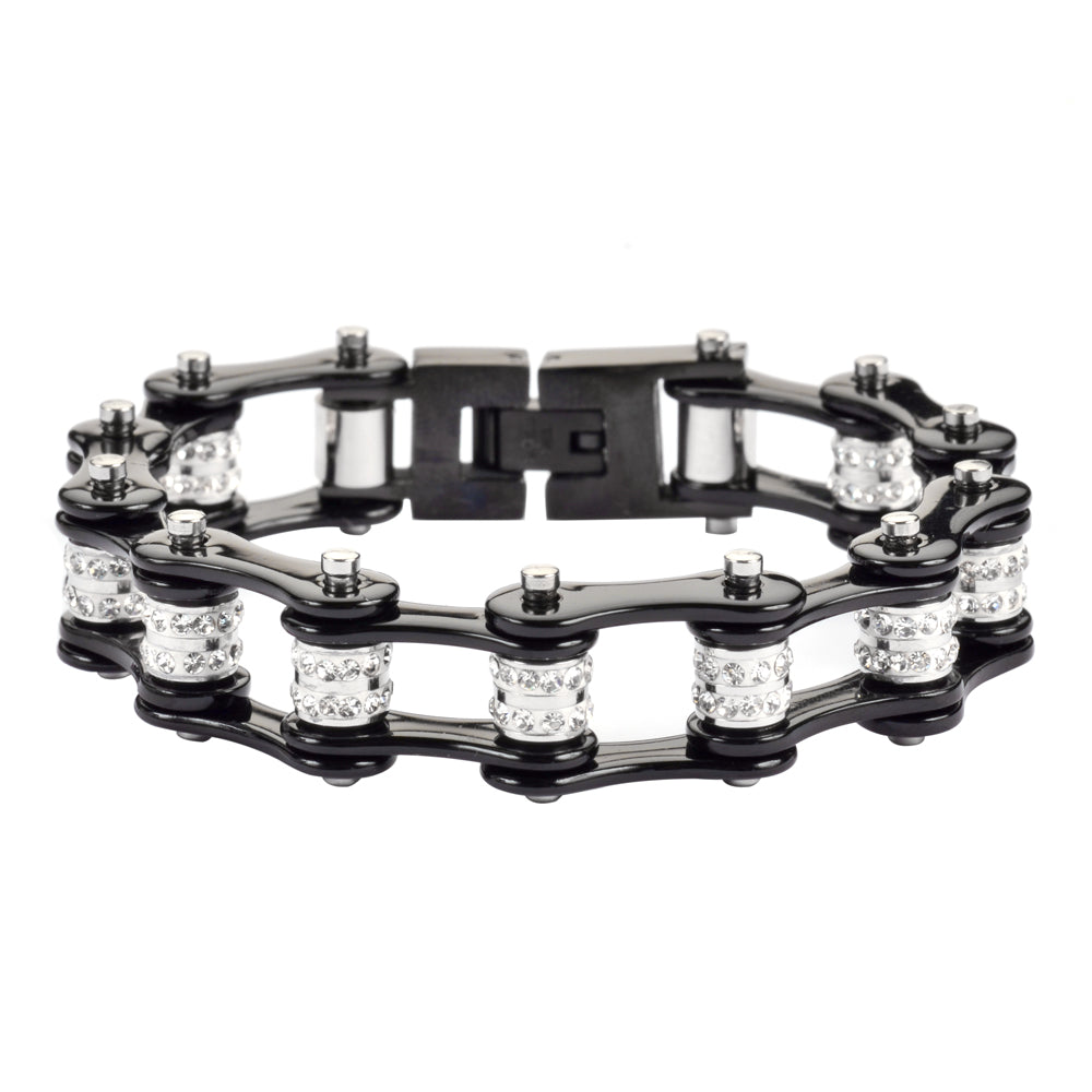 "SK1617 1/2"" Wide All Black Double Crystal Rollers Stainless Steel Motorcycle Bike Chain Bracelet"