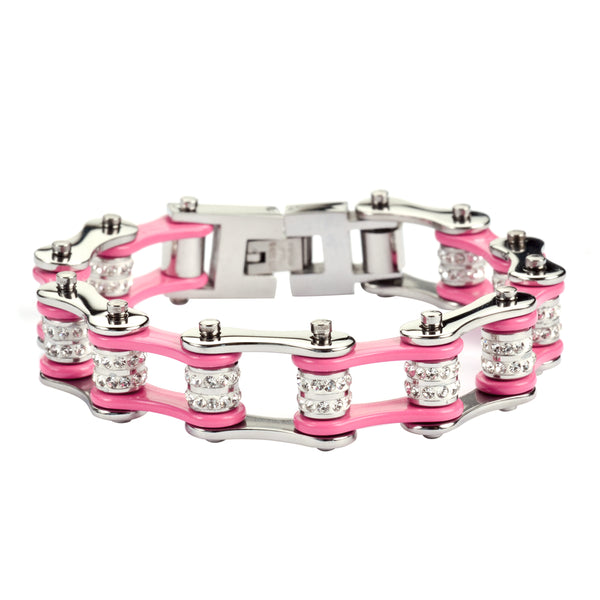 "SK1618 1/2"" Wide Silver Hot Pink Double Crystal Rollers Stainless Steel Motorcycle Bike Chain Bracelet"