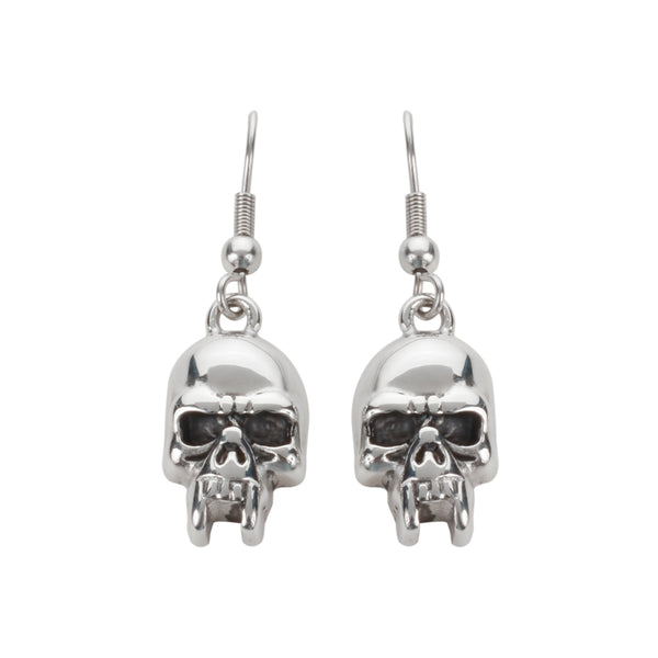 SK1621  Vampire Skull Earrings French Wire Stainless Steel Motorcycle Biker Jewelry