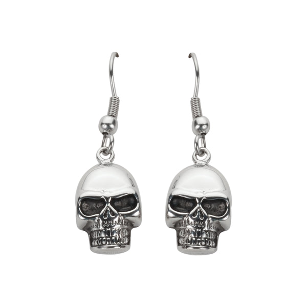 SK1626  Skull Earrings French Wire Stainless Steel Motorcycle Biker Jewelry