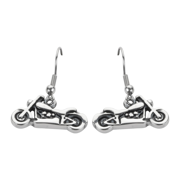 SK1637  Motorcycle French Wire Small Earrings Stainless Steel Motorcycle Biker Jewelry