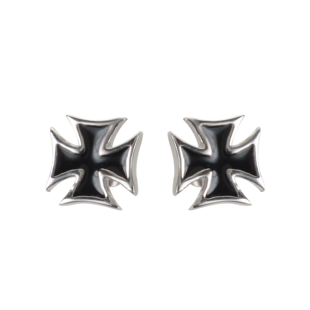 SK1639  Iron Cross Nut & Post Earrings Stainless Steel Motorcycle Biker Jewelry