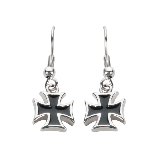 SK1640  Iron Cross French Wire Earrings Stainless Steel Motorcycle Biker Jewelry