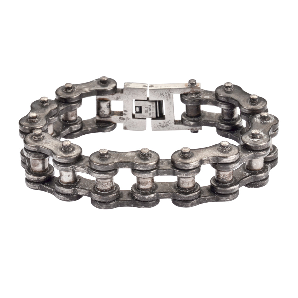 "SK1700 Distressed Antique Finish 3/4"" Wide THICK LINK Men's Stainless Steel Motorcycle Chain Bracelet"