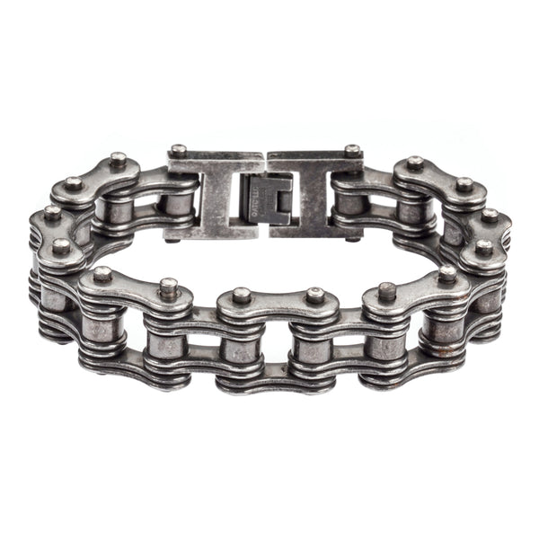 "SK1702 Distressed Antique Finish 3/4"" Wide Double Link Design Men's Stainless Steel Motorcycle Chain Bracelet"