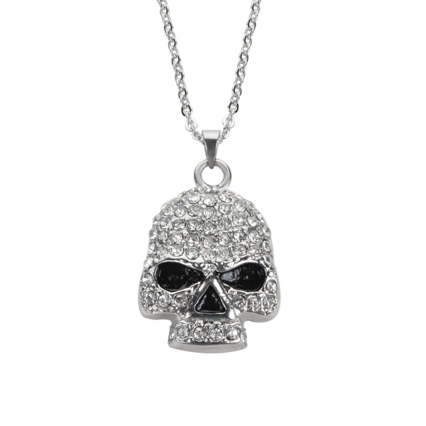 "SK1704 Ladies Bling Skull Pendant With Necklace 19"" Stainless Steel Motorcycle Jewelry"