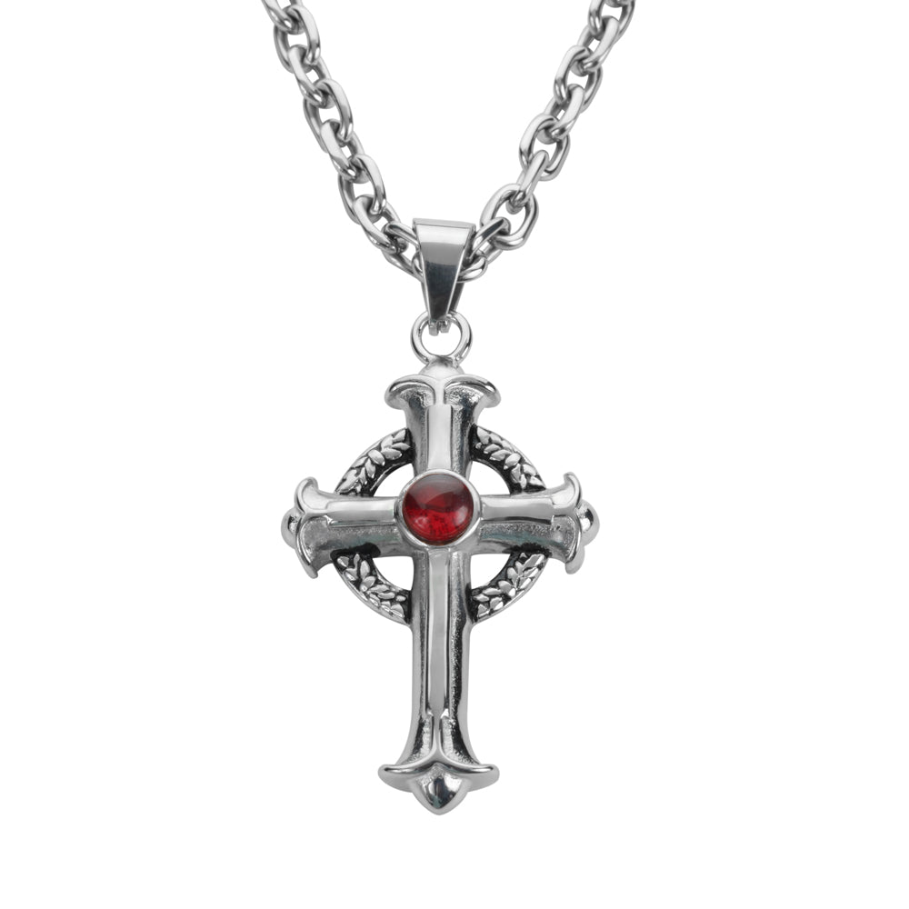 "SK1706R 2.75"" Tall Fleur De Lis Cross Imitation Ruby Stone With 26"" Link Necklace  Stainless Steel Religious Jewelry"