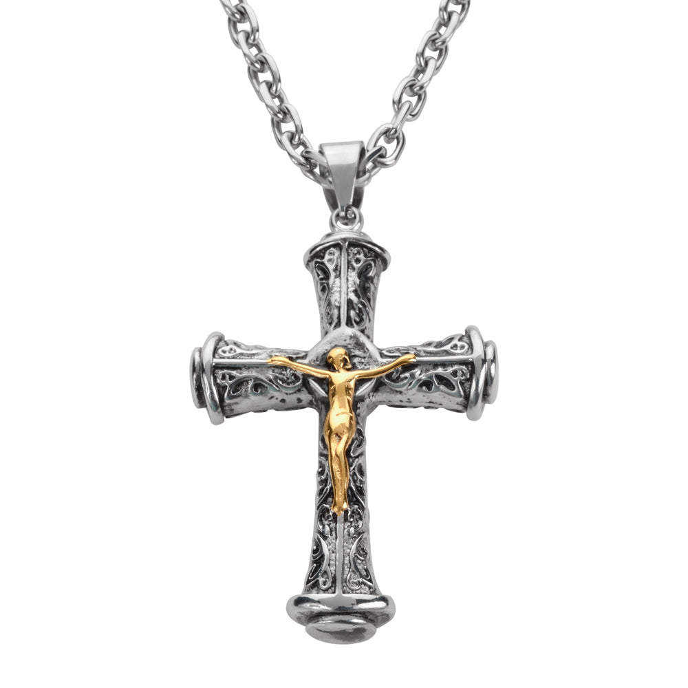 "SK1708 3"" Catholic Cross With Link Necklace 26"" Stainless Steel Religious Jewelry"