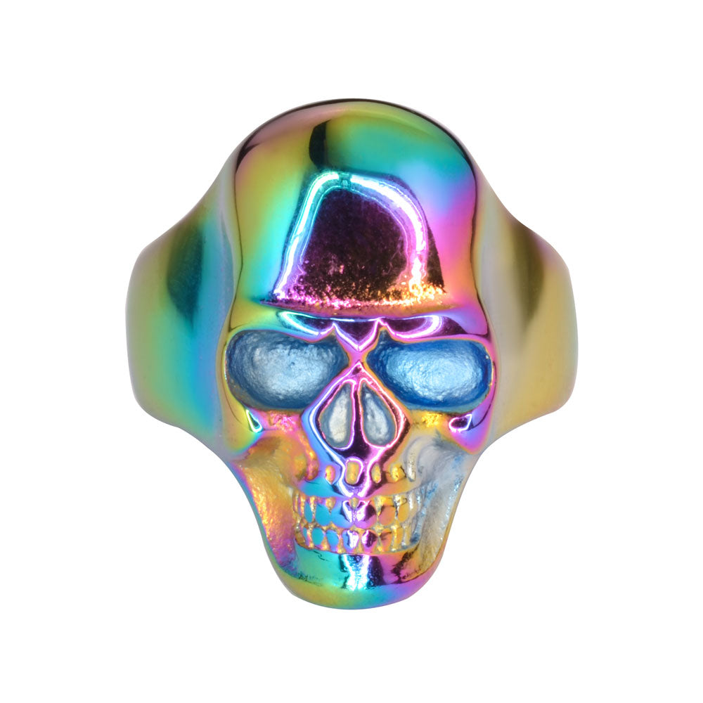 SK1710 Neo Chrome Rainbow Skull Ring Stainless Steel Motorcycle Biker Jewelry