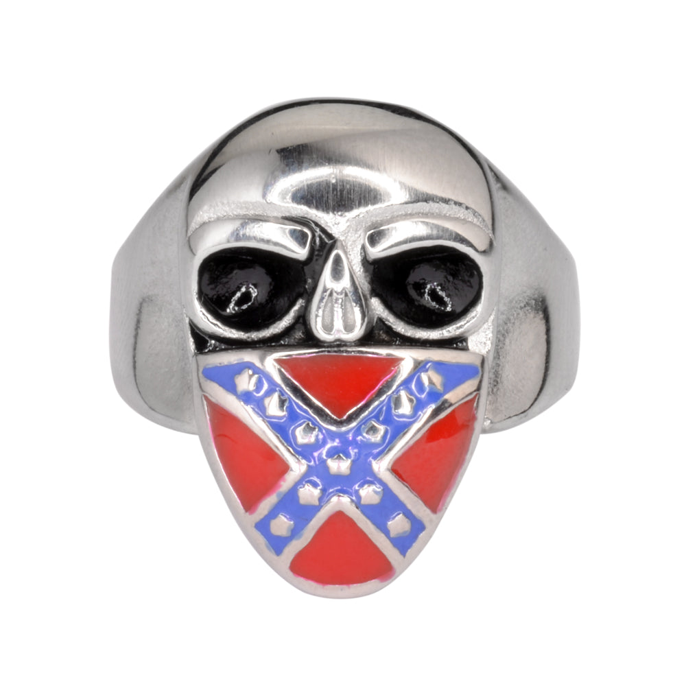 SK1720  Rebel Flag Skull Ring Stainless Steel Motorcycle Jewelry  Size 9-15