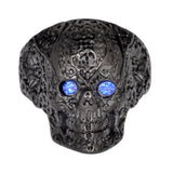 SK1736  Ladies Blue Eyed Tribal Tattoo Skull Ring Black Edition  Stainless Steel   Size 6-10