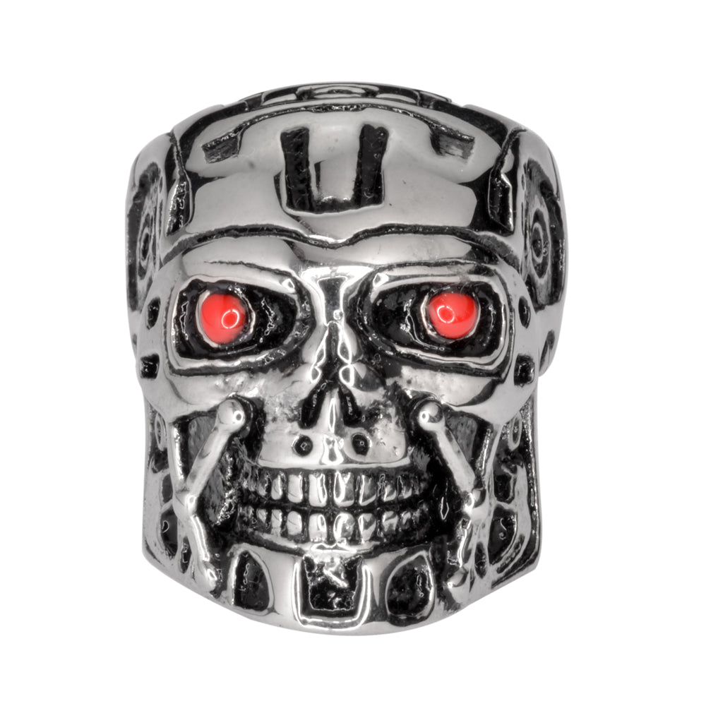 SK1740  Gents Terminator Robot Red Eyes Ring Stainless Steel Motorcycle Jewelry  Size 9-14