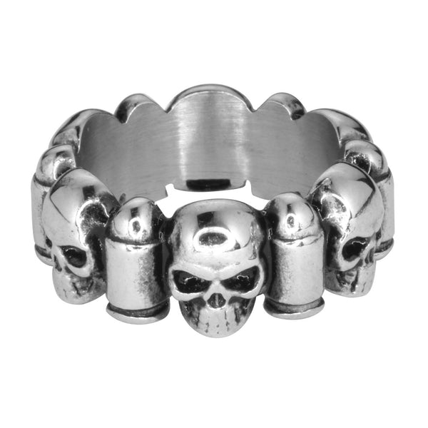 SK1741  Gents Skull & Bullet Ring Stainless Steel Motorcycle Jewelry  Size 9-14