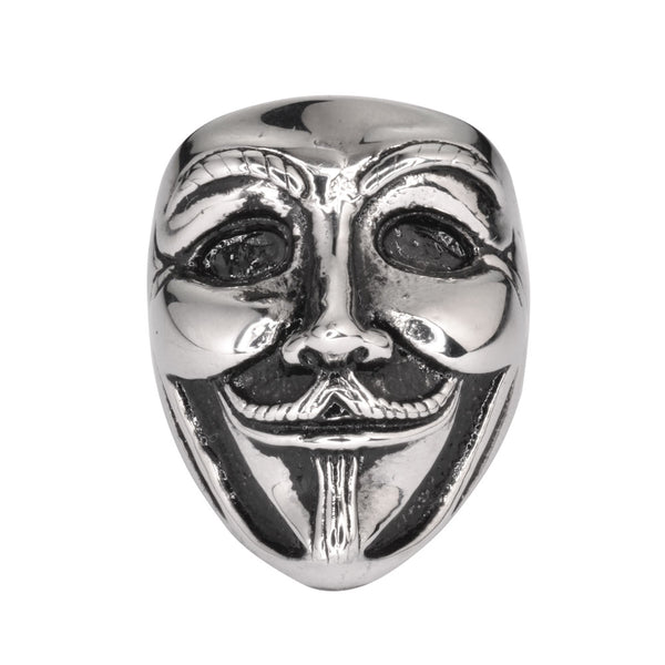 "SK1742  Unisex Guy Fawkes Ring ""Anonymous Mask"" Silver Edition  Stainless Steel Motorcycle Jewelry  Size 6-14"