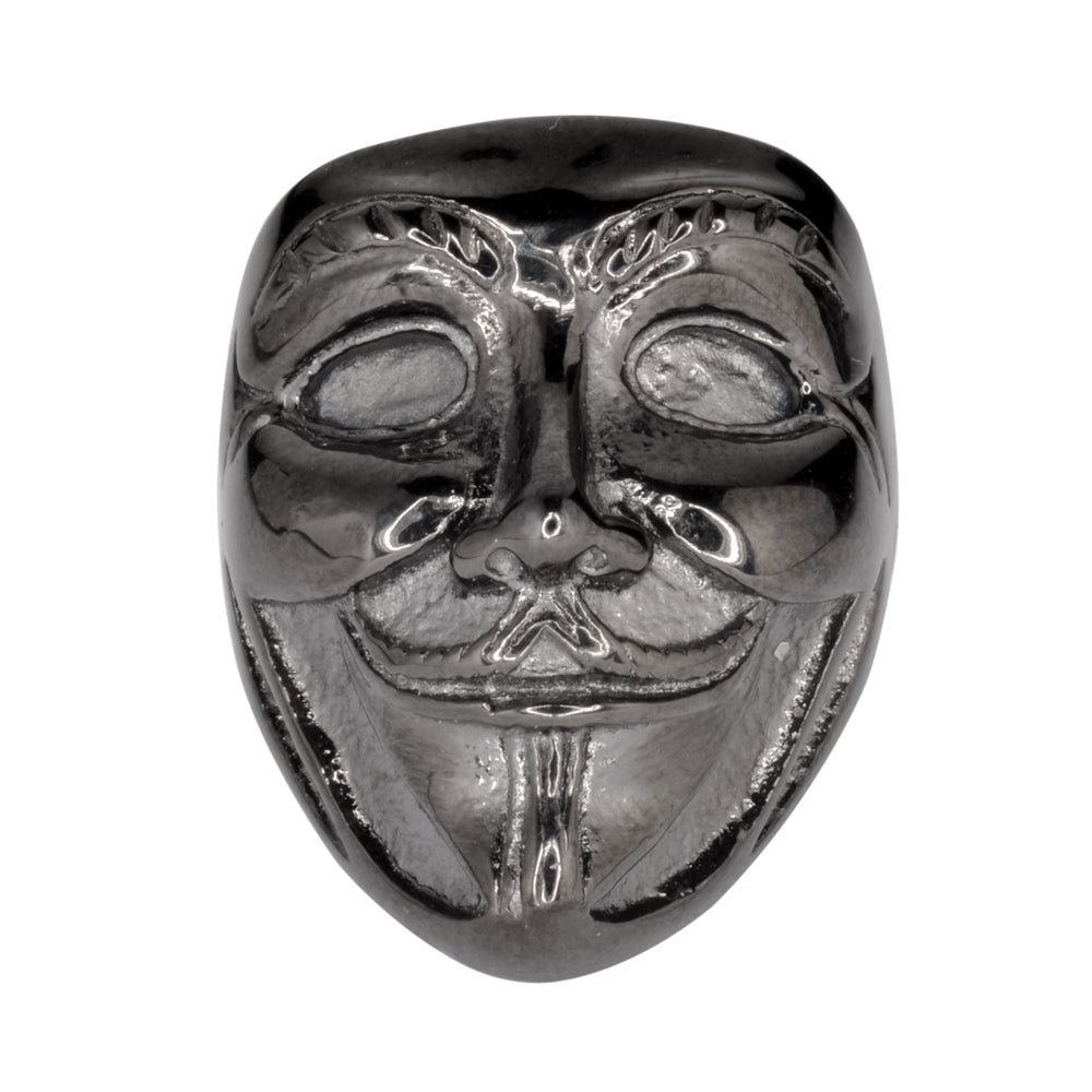 "SK1743  Unisex Guy Fawkes Ring ""Anonymous Mask"" Black Edition Stainless Steel Motorcycle Jewelry  Size 6-14"
