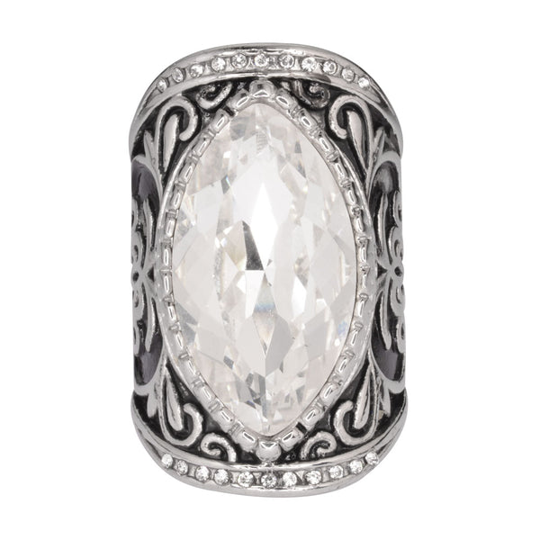 SK1745  Ladies Big Crystal Fancy Design Ring Stainless Steel Motorcycle Jewelry  Size 6-12