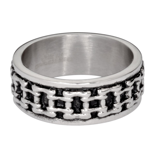 SK1747  Gents Bike Chain Ring Silver Edition Stainless Steel Motorcycle Jewelry  Size 9-14