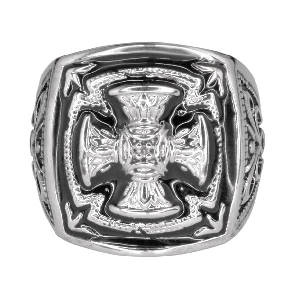 SK1749  Gents Florenzada Cross Ring Stainless Steel Motorcycle Jewelry  Size 9-14
