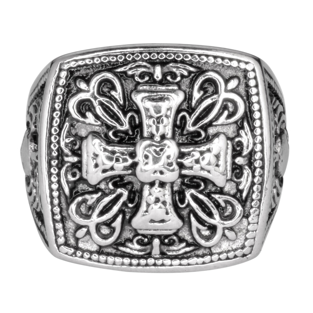 SK1750  Gents Greek Cross Ring Stainless Steel Motorcycle Jewelry  Size 9-14