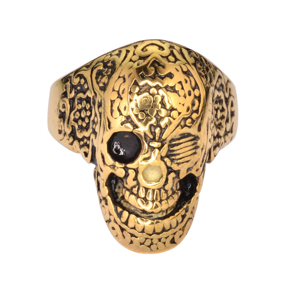 SK1752 Gents Tattoo's Gone Wild Ring Gold Plate Edition Stainless Steel Motorcycle Biker Jewelry
