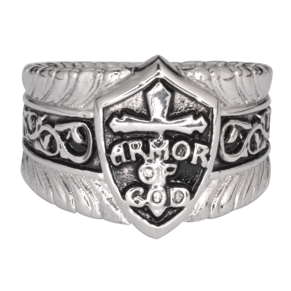 SK1771  Gents Armor Of God Shield  Ring Stainless Steel Motorcycle Jewelry  Size 9-18