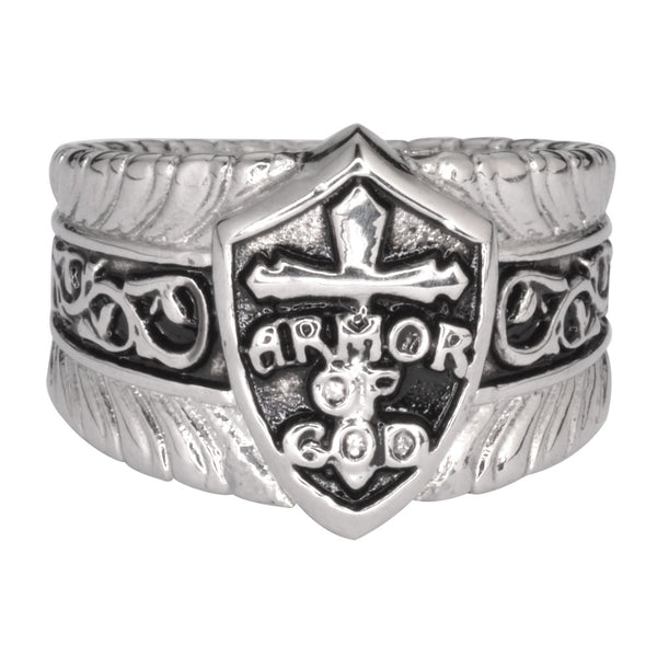 SK1771  Gents Armor Of God Shield  Ring Stainless Steel Motorcycle Jewelry  Size 9-14