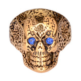 SK1772  Ladies Blue Eyed Tribal Tattoo Skull Ring Gold Edition Stainless Steel Motorcycle Jewelry  Size 6-10