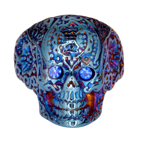 SK1773  Ladies Blue Imitation Eyes Skull Ring Blue Edition  Stainless Steel Motorcycle Jewelry  Size 6-10