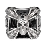 SK1774 Gents Maltese Skull With Knives Ring Stainless Steel Motorcycle Biker Jewelry