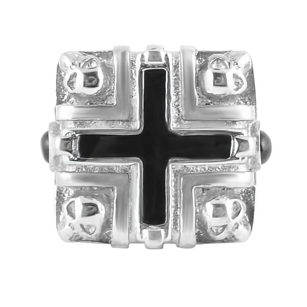SK1776  Gents Four Skull Cross Ring Stainless Steel Motorcycle Jewelry  Size