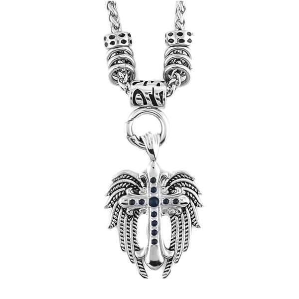 "SK1777BLK Ladies Angel Wing & Cross Black Bling Pendant With 4mm Foxtail Necklace 19"" Stainless Steel"
