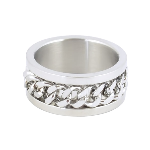 SK1780 All Silver Edition  Gents Cuban Link Spinner Ring Stainless Steel Motorcycle Jewelry  Size 8-15
