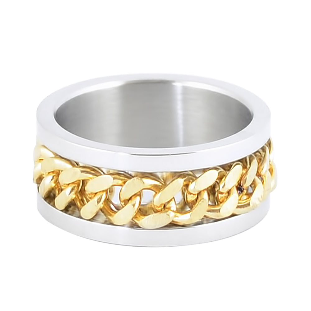 SK1780C Silver/Gold Edition  Gents Cuban Link Spinner Ring Stainless Steel Motorcycle Jewelry  Size 8-15